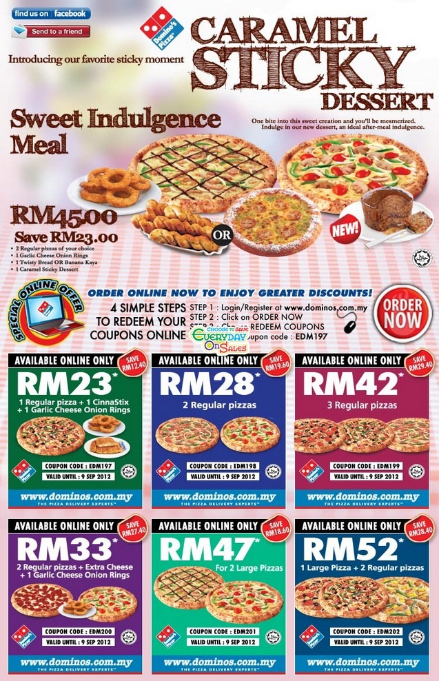 Domino's Pizza Sweet Indulgence Meal Promotion from 31 Aug ...